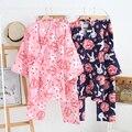 Conjunto Quimono japonês Cereja Coelho Bonito Pijama Terno Agasalho de Algodão Roupão Gaze Calças Top
