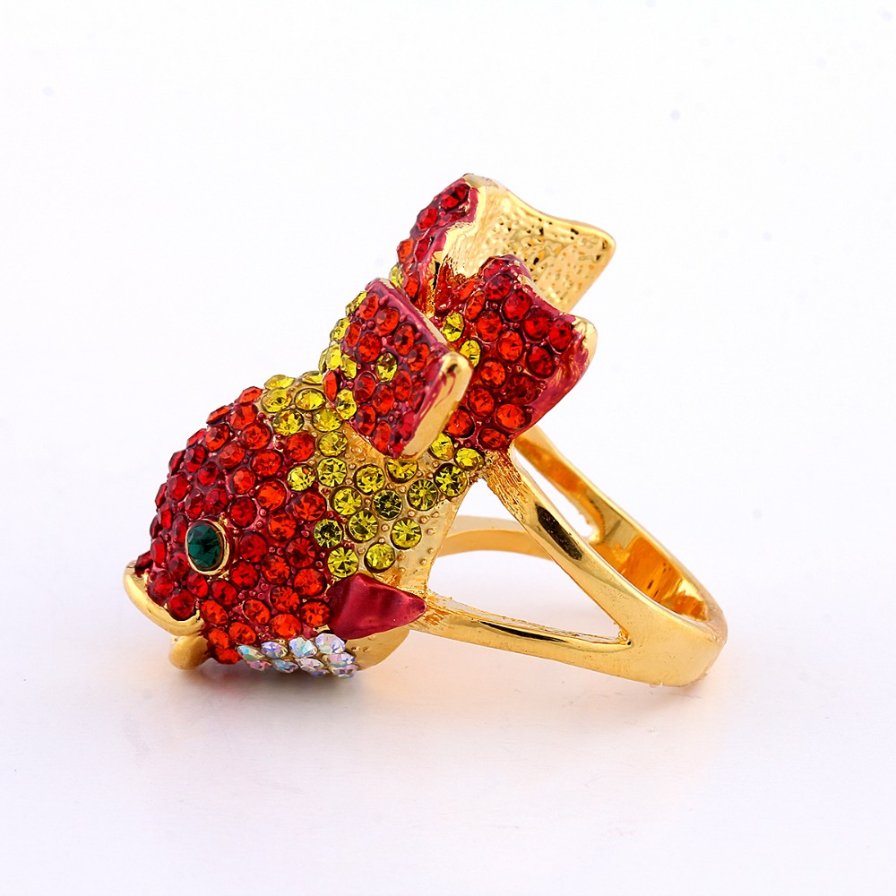 Gold color Cute Fish Big Animal Rings for Women Colorful CZ Crystal ...