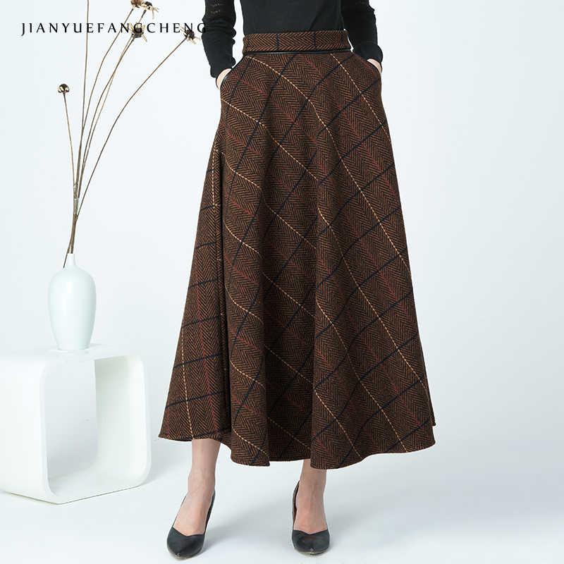 55a74b2f5af Женская Клетчатая Шерстяная юбка плиссированная юбка плюс размер Высокая  талия линия макси юбка Зимняя теплая Лодыжка