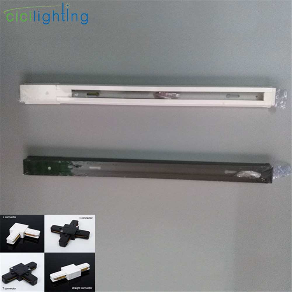 6pcs/Lot 0.5m 1m LED Track Light Rail White Black One Single Phase 2 Wire Rail Track Surface Mounted Lamp Track Connector