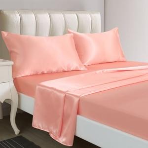 Image 2 - Роскошный атласный Шелковый комплект постельного белья с наволочкой, постельное белье в американском стиле, 3/4 шт., постельное белье для двуспальной и двуспальной кровати, Комплект постельного белья размера s