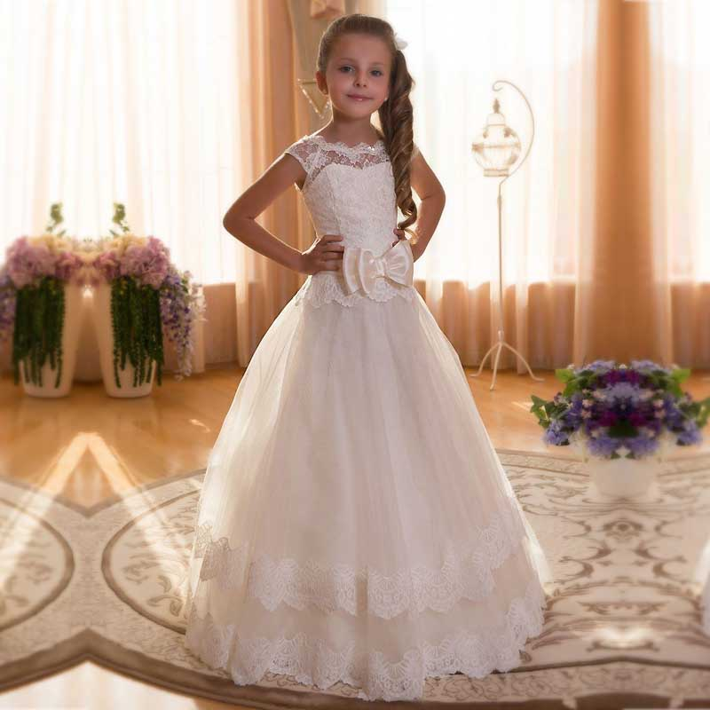 Girl Communion Party Prom Dresses Bow A-Line Short Sleeves Solid O-Neck Princess Pageant Bridesmaid Wedding Flower Girl Dress girl communion party prom princess pageant bridesmaid wedding flower girl dress new dress