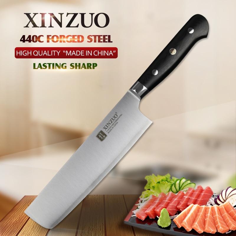 XINZUO 7 inch Slicing Knife Kitchen Nikiri Knives 3 Layer 440C Clad Steel Kitchen Stainless Chef