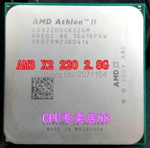 Бесплатная доставка AMD Athlon II X2 220 двухъядерный ПРОЦЕССОР 2.8 Г 45 нм AM3 CPU интерфейс для настольные компьютеры