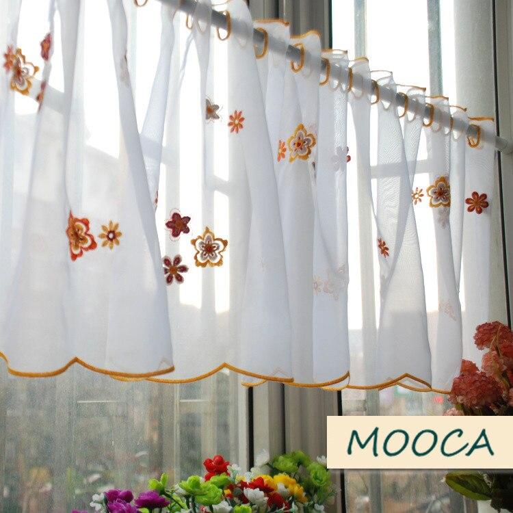 Orange color flor bordada cocina cortina de cocina cortina blanca ...