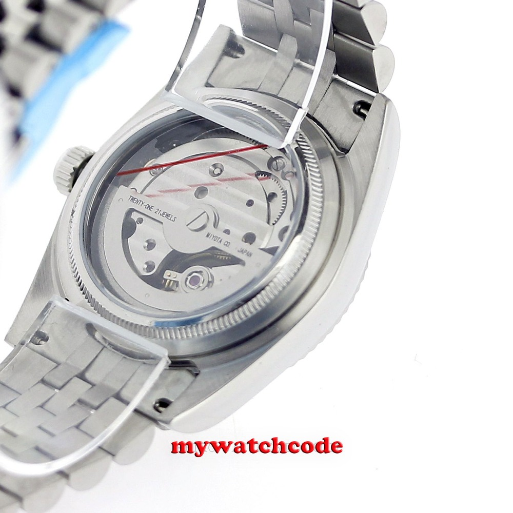 36mm parnis silver dial 21 jewels miyota automatic Luxurious mens watch P788