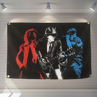 ACDC Guitarist Pop Band Sign Cloth Flag Four Hole Hanging paintings Cafe Hotel Music Studio Decoration