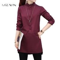 Mrs Win Summer Shirts Women Long Cotton Shirts Irregular Hem Fashion Blouse Long Sleeve White Wine