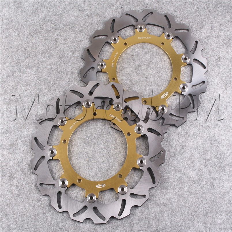 Motorcycle Front Brake Disc Rotor For Yamaha YZF R6 03 04 FZ6 04-08 05 XJ6-N 2009-2011 2010 Gold Stainless Steel Aluminum Alloy motorcycle front brake discs rotor for yamaha yzf r6 2003 2004 2005 yzf r1 03 04 05 gold