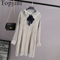 New 2017 Spring Women Chiffon Preppy Style full Sleeve dress Straight Striped Knee-Length regular dresses Draped Ruffled dress