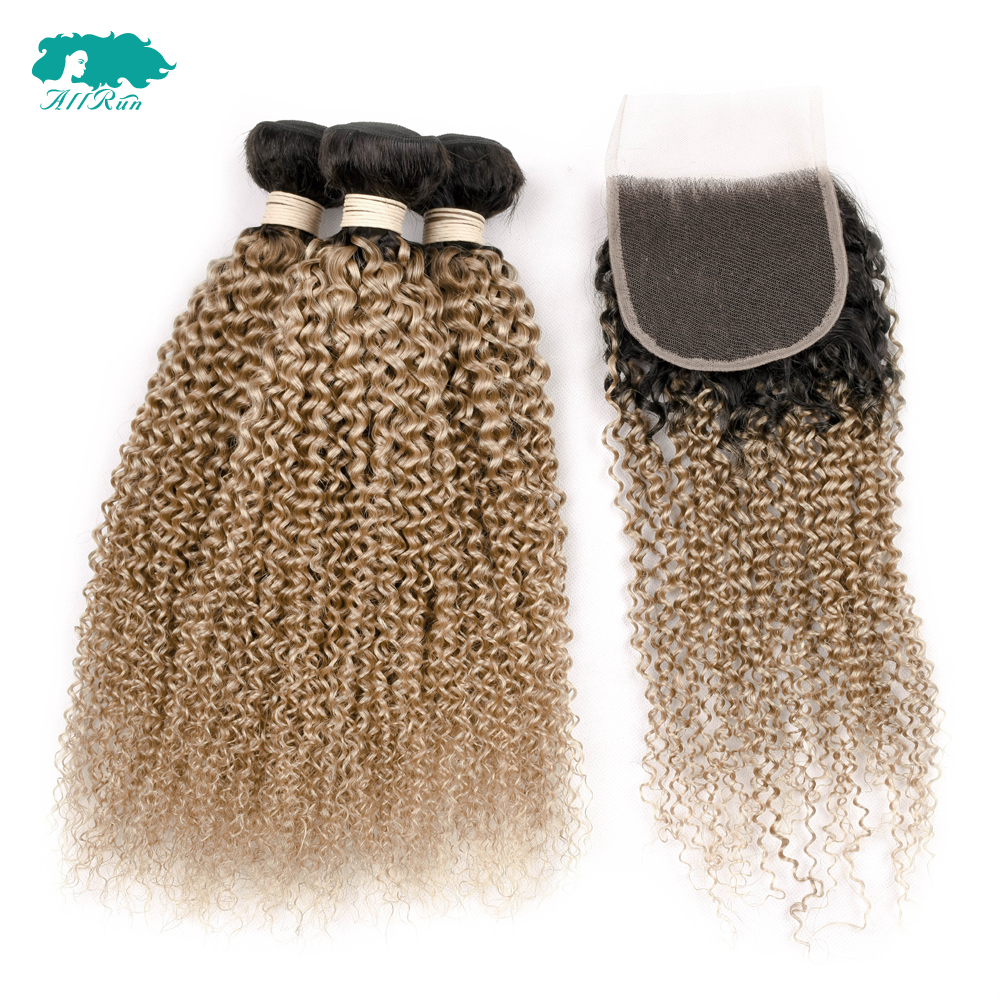Allrun Peruvian Human Hair Bundles With C losure 3 Bundles Kinky Culry Hair Weave Bundle ...