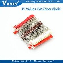 15values*10pcs=150pcs 1W Zener diode kit DO-41 3V-30V component diy kit new and original