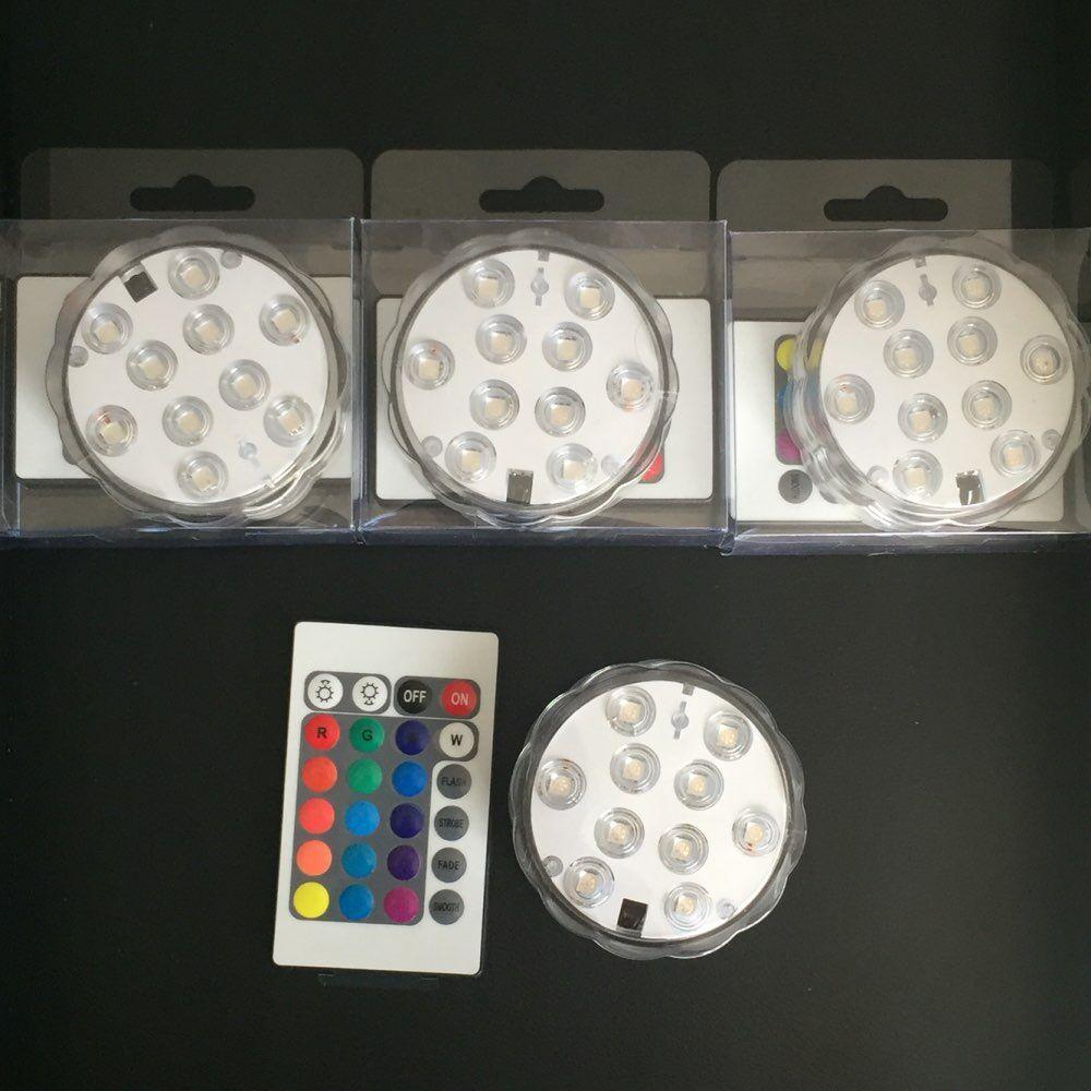 (4 tk / partii) Sukeldatavad veealused LED-valgustid veekindlad tee valgustid pulmadele, peole, tiigile, purskkaevule või sisekujundusele