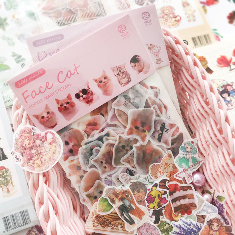 1 Pack Cute Romantic Stickers Cartoon Cat Small Sticker  Painted Watercolor Diary Photo Decorative Stationery Stickers