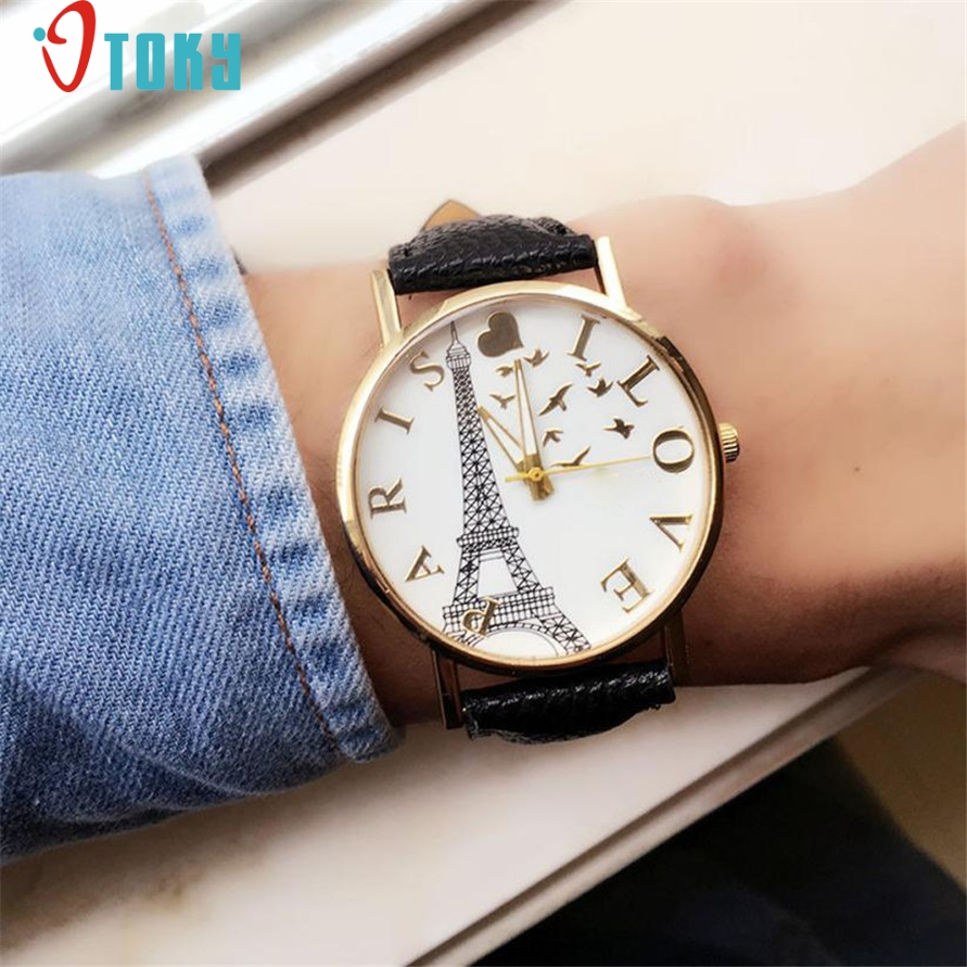 Relogio Feminino OTOKY Willby Watch I LOVE PARIS Eiffel Tower Watch PU Leather Quartz Wrist Watches 161213 Drop Shipping lovesky 2016 new arrival women pu leather watch who cares i am late anyway letter watches wrist watch free shipping