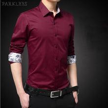 13481af9f7 Marca de vino rojo 100% algodón camisas de vestir para hombre 2018 moda  Patchwork Floral camisa Casual Oficina de Trabajo Chemis.
