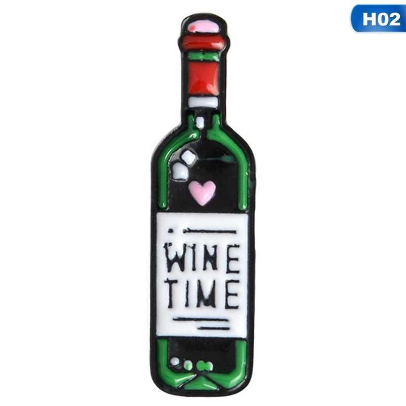 Kepribadian Kartun Botol Anggur Merah Anggur Merah Kaca Bros Enamel Pin Cute Bros Perhiasan Denim Ransel Sweater Aksesoris