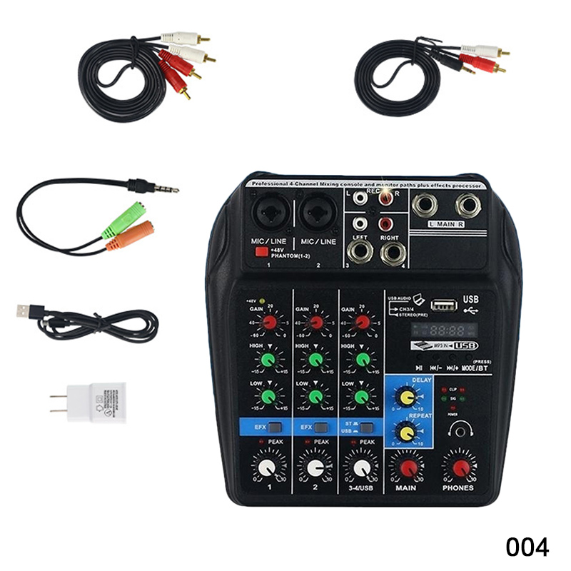 Mini USB Audio Mixer Amplifier Amp Bluetooth Board 48V Phantom Power 4 Channels for DJ Karaoke ASD88