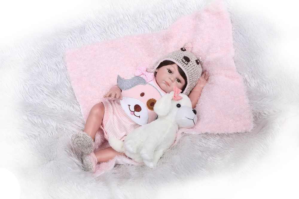 NPK Newborn Baby Doll reborn 48cm 19 Inch Reborn Baby girl Real Life Living Doll Toys Soft Silicone Open Eyes little puppy