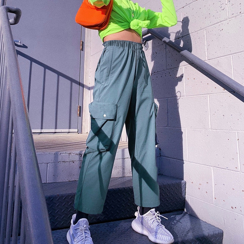 2019 Streetwear Cargo   Pants   Women Casual Joggers Blue High Waist Loose Female Trousers Korean Style Ladies   Pants     Capri   L196