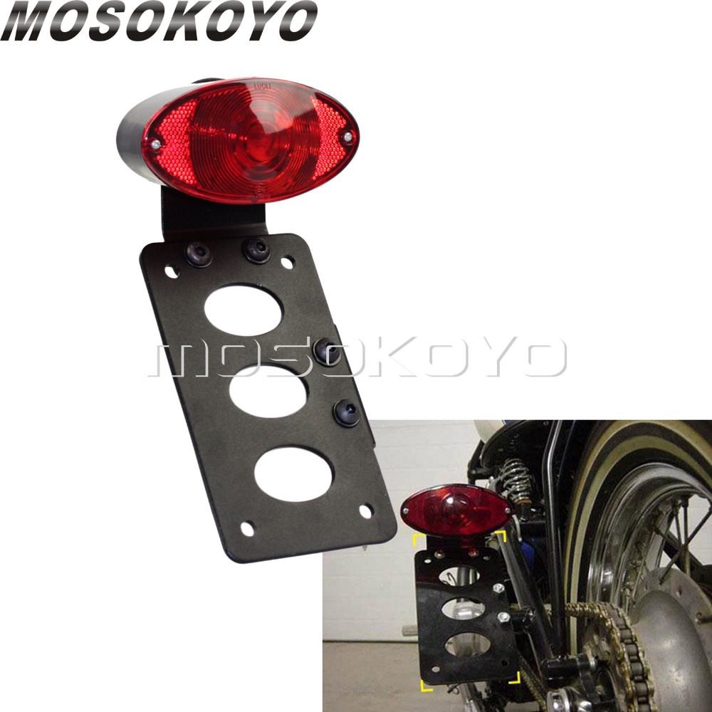 Cat Eye Lucas Tail Lights License Plates Bracket Side Mount Holder Brake Stop Light for Harley Cafe Racer Scrambler BobberCat Eye Lucas Tail Lights License Plates Bracket Side Mount Holder Brake Stop Light for Harley Cafe Racer Scrambler Bobber