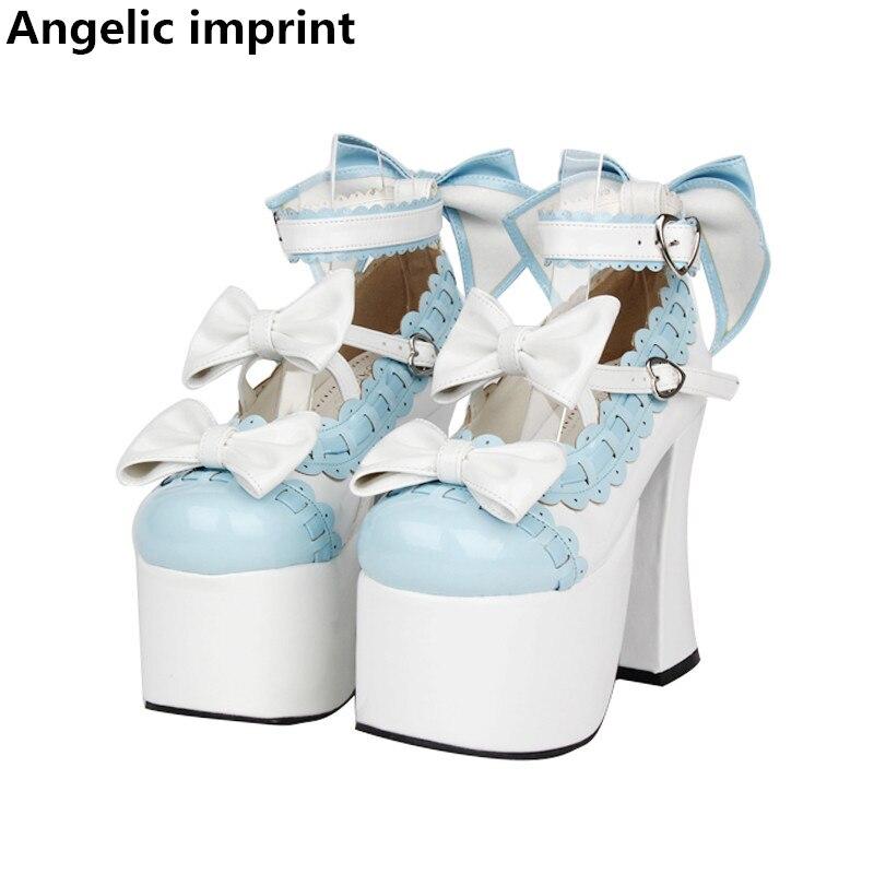 Ayakk.'ten Kadın Pompaları'de Melek baskı kadın mori kız lolita cosplay ayakkabı bayan yüksek topuklu platform ayakkabılar kadınlar prenses elbise parti ayakkabıları 33 47'da  Grup 1