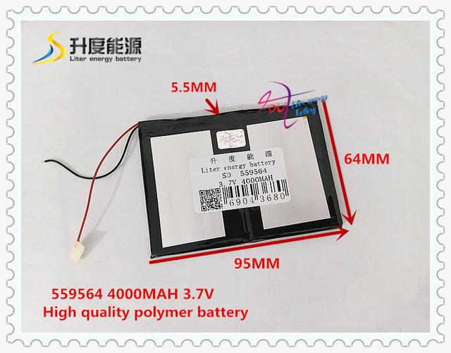 3.7 V 4000 mAH 559564 de Polímero de lítio ion/Li-ion banco de potência da bateria para tablet pc GPS MP4 MP3