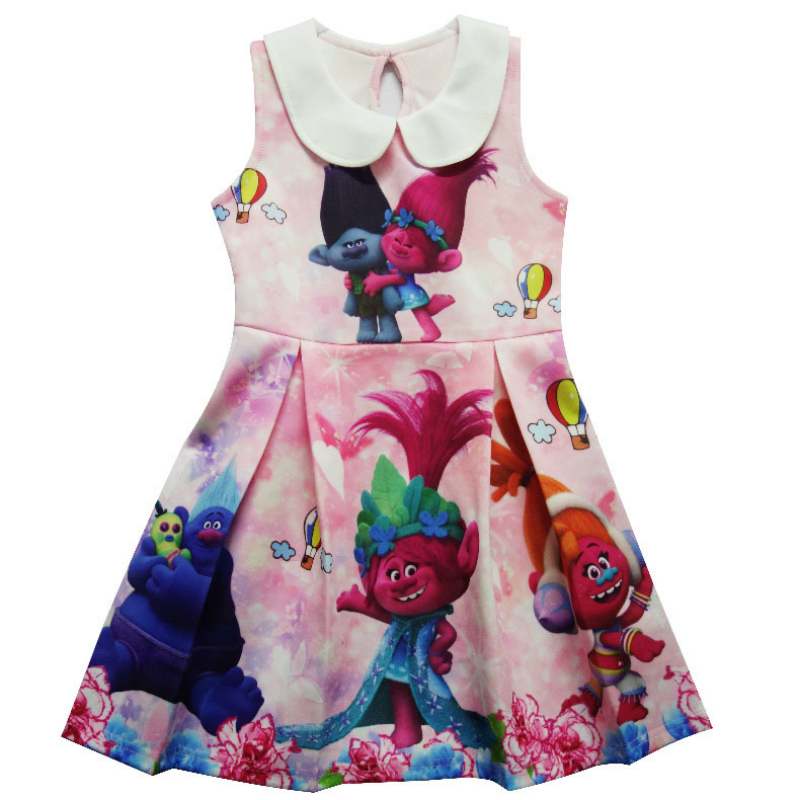 Girl Dresses Kids Clothes Baby Clothing Elmo Trolls Printing Princess Party Dress Sleeveless Dress Children Girls Kids Dress retail baby girl clothes casual a line kids dresses full girl party dress pretty pattern girl dress children clothing a1030