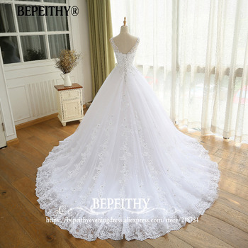 Gorgeous Ball Gown Wedding Dress With Lace Vestido De Novia Princesa Vintage Wedding Dresses Real Image Bridal Gown 2019 2