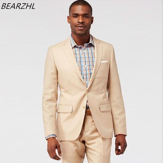 Online Shop wedding tuxedo groom suits beige dress for men suit ...