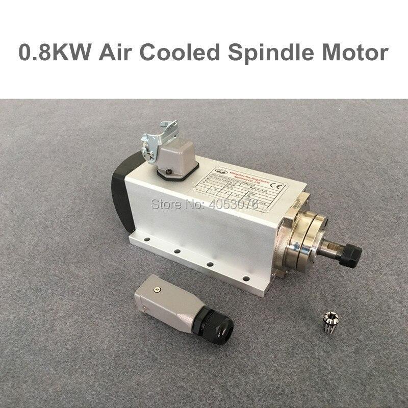 Высокоскоростной шпиндель 800 Вт с воздушным охлаждением фрезерный шпиндель с ЧПУ мотор 0.8kw 220 В ER11 с 4 подшипниками для фрезерного станка с ЧПУ