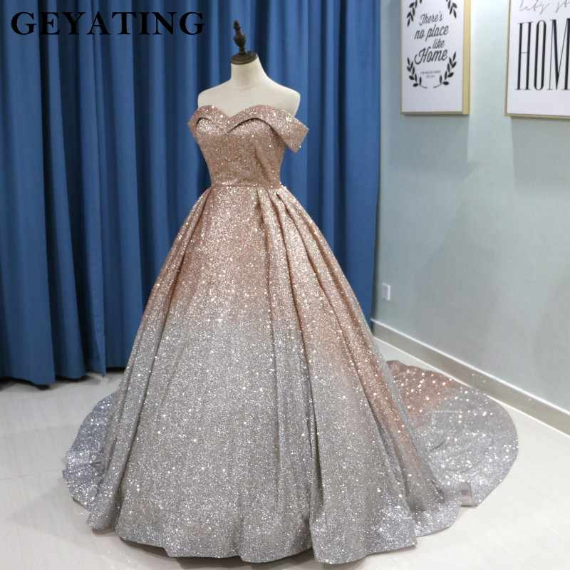 aec3336b31bfa ... Sparkly Ombre Champagne Silver Sequin Prom Dresses 2019 Dubai Glitter  Ball Gown Party Dress Sweetheart Court ...