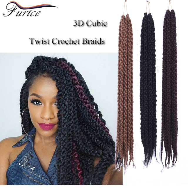 Furice 3d Cubic Twist Afro Crochet Braids Natural Black Synthetic