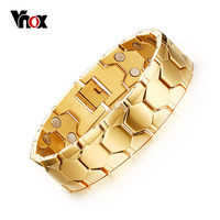 Magnetic Men S Bracelets 18K Gold Plated Football Design 18mm Width Health Care Hand Chain
