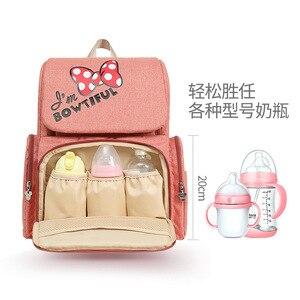 Image 5 - New Disney Mummy bag mickey mouse bag diaper bag backpack mom baby bags Maternity Handbag USB cup heating