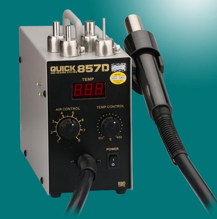 Pistolet à air chaud réglable sans plomb QUICK 857D avec station de reprise du vent hélicoïdal 580 W SMD, haute qualité