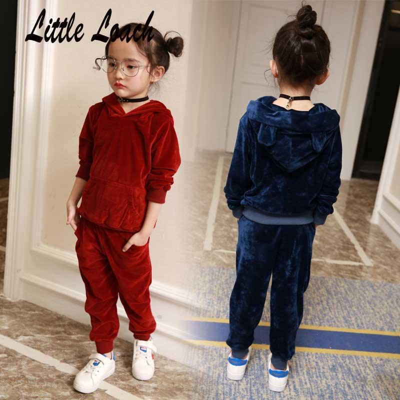 2-7Years Girls Boys Tracksuits Cute Hooded Hoodies +Casual Pants 2pcs Kids Sports Suits Children Sets Conjunto Nina Streetwear