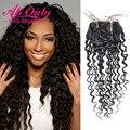 Дешевые Перуанский Закрытие Глубокая Волна 7А Девственные Волосы Перуанский Закрытие Alionly Человеческого Волоса Lace Closure 4*4 inch Lace Closure Глубоко волна