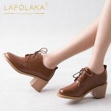 15bf7d1ff8 33-40 Lapolaka New Arrivals 2019 Grande Tamanho de Alta Qualidade Rendas  Até Sapatos de Mulher Bombas Saltos Robustos Sapatos de.