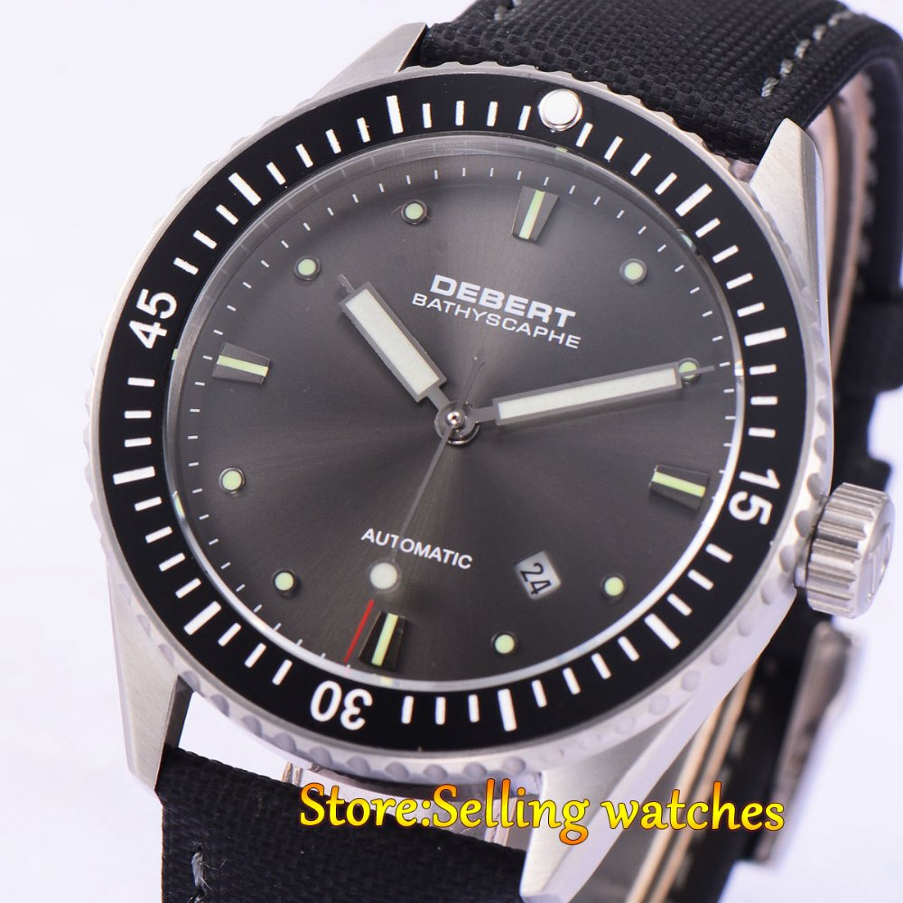 43MM DEBERT Black Ceramic Bezel Sapphire Glass WristWatches Black Dial Miyota Automatic Watch 43mm debert balck ceramic dial bezel sapphire miyota 821a automatic mens watch