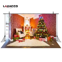 Laeacco Christmas Tree Fireplace Interior Photography Backgrounds Vinyl New Year Home Decoration Backdrops For Photo Studio