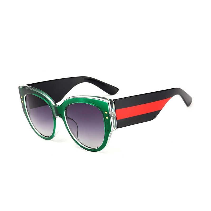 ea2136e1978 ... ROYAL GIRL Luxury Crystal Oval Sunglasses Women Brand Designer Black  Red Stripes Frame Eyewear Gradient Lens ...