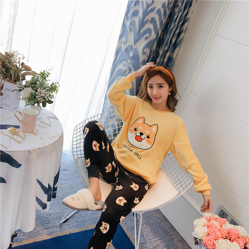 New Cartoon Bear and Dog   Pajama     Sets   Sleepwear Women Winter Flannel Plus Size Full Length Warm Party Pyjamas Sleepwear For Women