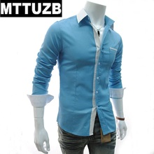 MTTUZB Men candy color long sleeve shirt men's casual slim business dress shirts man formal shirt male work shirts clothes