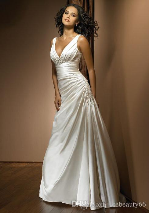 2016 New Arrival Custom Made Long Mermaid White V-neck Pleat Appliques   Evening     Dresses   Formal Party Gowns Porm Gown