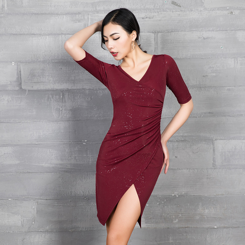 2019 New Design Latin Dance Dress Glitter V Type Unique Cutting Training Performance Clothes For Female Adults Woman MD9102