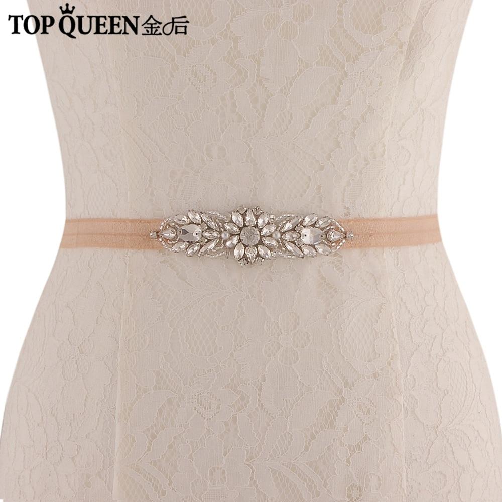 TOPQUEEN Luxury Diamonds Bridal Belts Wedding Belt Beaded Glass Crystals And Rhinestones Luxury Bridal Elastic Belt SJD-S337