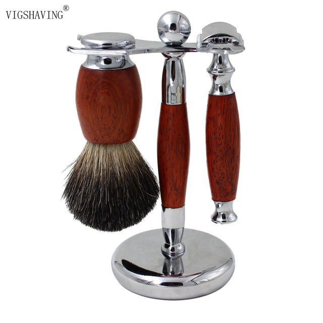 New Wood Pure Badger Shaving Brush and Safety Razor set/kits