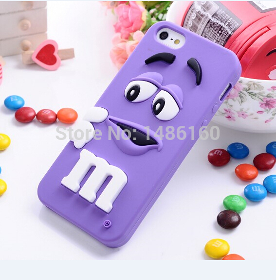 Hot item Lovely M&M Chocolate Case Colorful Back Defender Rainbow Beans Cover for iPhone 4,4g,5,5g