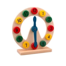 Montessori 2-4 year old Math Toys Colorful Puzzle Digital Geometry Clock Baby Educational Wooden Clock Toy Kids Children Toys jwlele wooden montessori toys digital abacus alarm clock educational toys for children wooden blocks kids toys